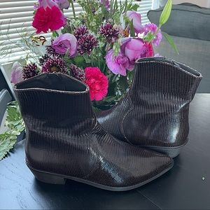 Free People dark brown leather ankle boot NWOT